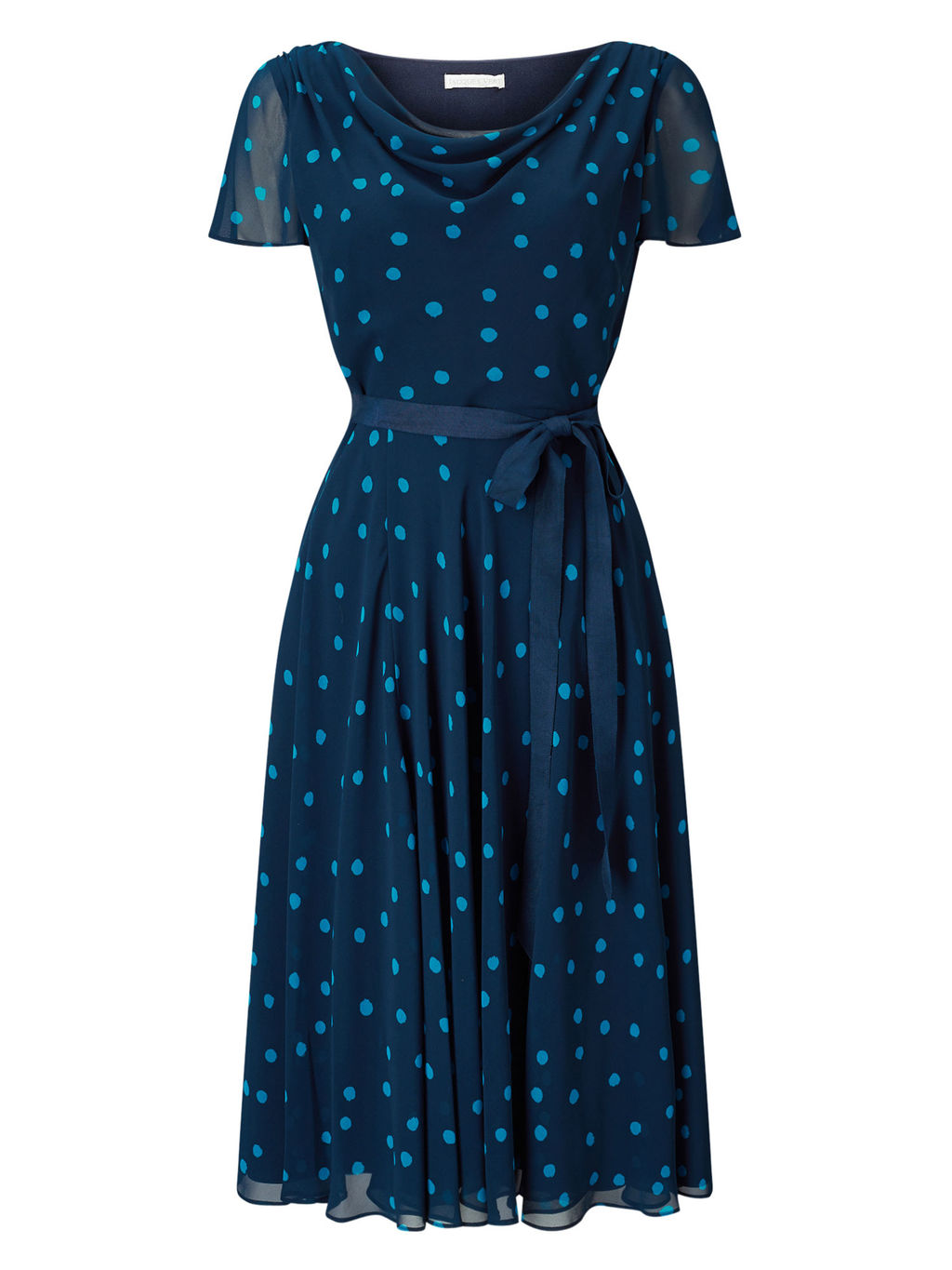 Soft Prom Spot Dress - length: below the knee; neckline: cowl/draped neck; pattern: polka dot; secondary colour: pale blue; predominant colour: navy; occasions: evening; fit: fitted at waist & bust; style: fit & flare; fibres: polyester/polyamide - 100%; sleeve length: short sleeve; sleeve style: standard; texture group: sheer fabrics/chiffon/organza etc.; pattern type: fabric; multicoloured: multicoloured; season: s/s 2016