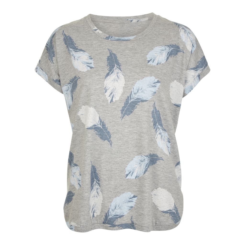 Feather Print T Shirt - style: t-shirt; secondary colour: pale blue; predominant colour: light grey; occasions: casual; length: standard; fibres: cotton - 100%; fit: body skimming; neckline: crew; sleeve length: short sleeve; sleeve style: standard; pattern type: fabric; pattern size: light/subtle; pattern: patterned/print; texture group: jersey - stretchy/drapey; multicoloured: multicoloured; season: s/s 2016; wardrobe: highlight