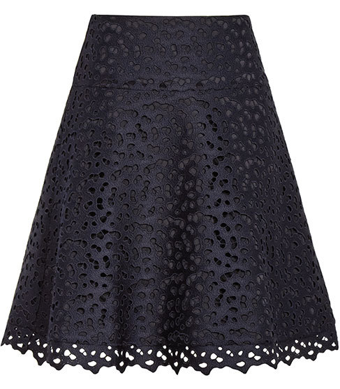Mallory Lace A Line Skirt - fit: loose/voluminous; waist: high rise; predominant colour: navy; length: just above the knee; style: a-line; fibres: polyester/polyamide - 100%; occasions: occasion; hip detail: soft pleats at hip/draping at hip/flared at hip; texture group: lace; pattern type: fabric; pattern: patterned/print; embellishment: lace; season: s/s 2016