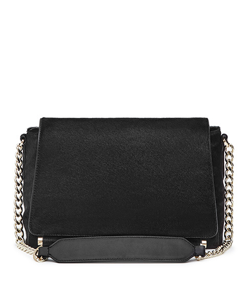 Sahara Calf Hair Shoulder Bag - predominant colour: black; occasions: casual, creative work; type of pattern: standard; style: shoulder; length: across body/long; size: standard; material: leather; pattern: plain; finish: plain; embellishment: chain/metal; season: s/s 2016; wardrobe: investment