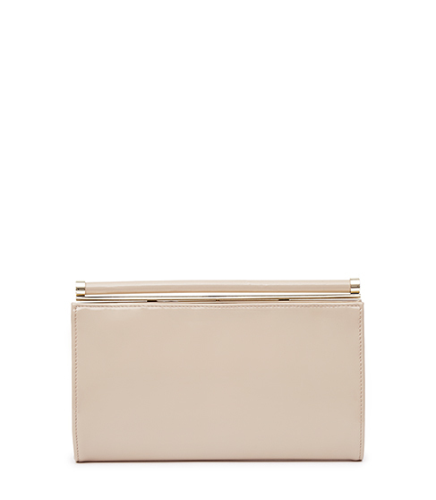 Christo Glossy Leather Clutch - predominant colour: nude; occasions: evening, occasion; type of pattern: standard; style: clutch; length: hand carry; size: standard; material: leather; pattern: plain; finish: plain; season: s/s 2016; wardrobe: event