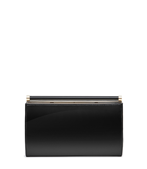 Christo Glossy Leather Clutch - predominant colour: black; occasions: evening, occasion; type of pattern: standard; style: clutch; length: hand carry; size: standard; material: leather; pattern: plain; finish: plain; season: s/s 2016; wardrobe: event