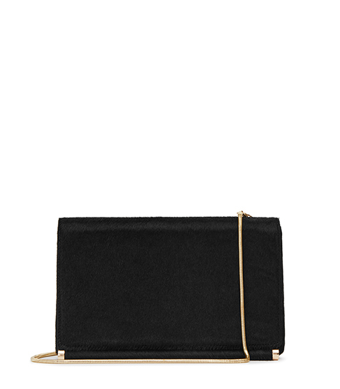 Rosa Calf Hair Clutch - predominant colour: black; occasions: evening, occasion; type of pattern: standard; style: clutch; length: hand carry; size: standard; material: fabric; pattern: plain; finish: plain; embellishment: chain/metal; season: s/s 2016; wardrobe: event