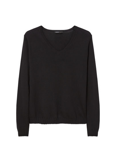 Fine Knit Sweater - neckline: v-neck; pattern: plain; style: standard; predominant colour: black; occasions: casual, work, creative work; length: standard; fibres: cotton - mix; fit: standard fit; sleeve length: long sleeve; sleeve style: standard; texture group: knits/crochet; pattern type: knitted - fine stitch; season: s/s 2016; wardrobe: basic