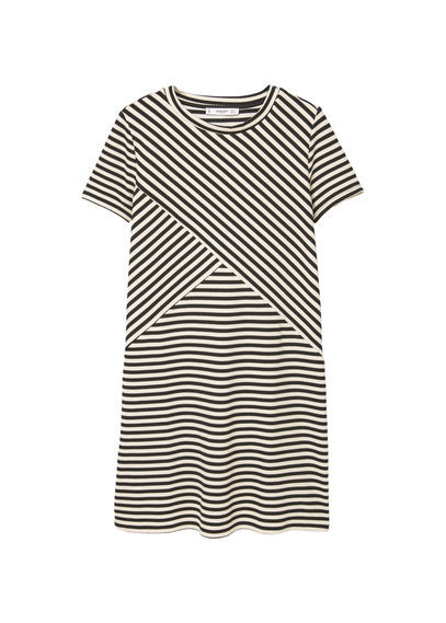 Printed Shift Dress - style: shift; length: mid thigh; pattern: striped; secondary colour: white; predominant colour: black; occasions: casual; fit: body skimming; fibres: cotton - mix; neckline: crew; sleeve length: short sleeve; sleeve style: standard; pattern type: fabric; texture group: woven light midweight; multicoloured: multicoloured; season: s/s 2016; wardrobe: highlight