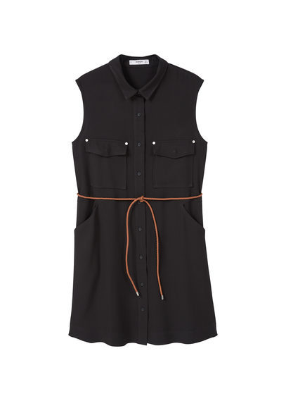 Detachable Belt Dress - style: shirt; length: mid thigh; neckline: shirt collar/peter pan/zip with opening; pattern: plain; sleeve style: sleeveless; waist detail: belted waist/tie at waist/drawstring; predominant colour: black; occasions: casual; fit: body skimming; fibres: viscose/rayon - 100%; sleeve length: sleeveless; pattern type: fabric; texture group: woven light midweight; season: s/s 2016; wardrobe: basic