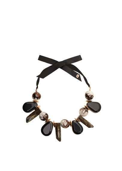 Mixed Bead Necklace - predominant colour: black; length: choker; size: large/oversized; material: fabric/cotton; occasions: holiday, creative work; finish: plain; embellishment: beading; season: s/s 2016; style: bead; wardrobe: highlight