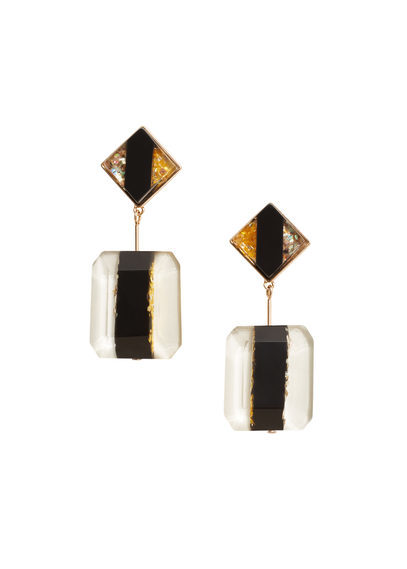 Faceted Stone Earrings - predominant colour: black; occasions: casual, creative work; style: drop; length: mid; size: standard; material: chain/metal; fastening: pierced; finish: plain; embellishment: jewels/stone; multicoloured: multicoloured; season: s/s 2016