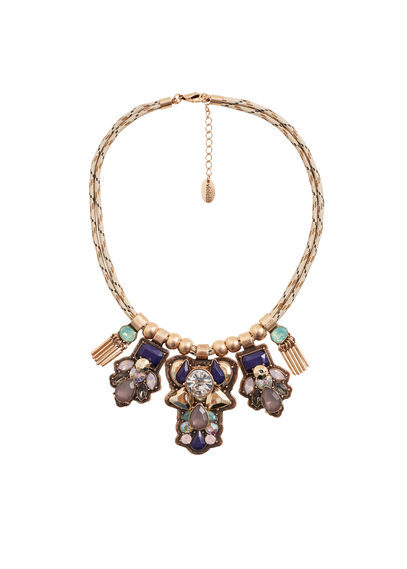 Contrasting Necklace - predominant colour: gold; occasions: evening, occasion; length: mid; size: large/oversized; material: chain/metal; finish: metallic; embellishment: chain/metal; style: bib/statement; season: s/s 2016; wardrobe: event