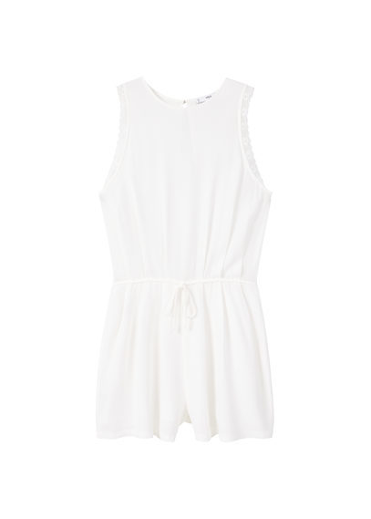 Lace Appliqué Jumpsuit - sleeve style: sleeveless; waist detail: belted waist/tie at waist/drawstring; length: short shorts; predominant colour: white; occasions: casual; fit: body skimming; fibres: viscose/rayon - 100%; neckline: crew; sleeve length: sleeveless; texture group: lace; style: playsuit; pattern type: fabric; pattern: patterned/print; season: s/s 2016; wardrobe: highlight