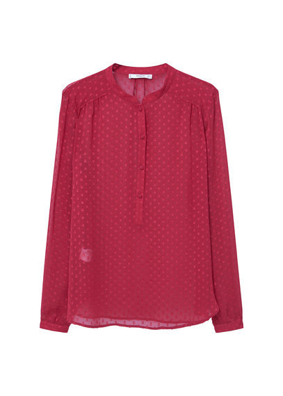 See Through Shirt - style: blouse; pattern: polka dot; predominant colour: true red; occasions: casual; length: standard; neckline: collarstand; fibres: polyester/polyamide - 100%; fit: body skimming; sleeve length: long sleeve; sleeve style: standard; texture group: sheer fabrics/chiffon/organza etc.; pattern type: fabric; season: s/s 2016; wardrobe: highlight