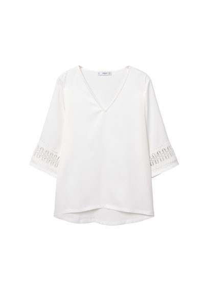 Crochet Embroidered Blouse - neckline: v-neck; pattern: plain; style: blouse; predominant colour: white; occasions: casual; length: standard; fibres: polyester/polyamide - stretch; fit: body skimming; sleeve length: 3/4 length; sleeve style: standard; pattern type: fabric; texture group: woven light midweight; season: s/s 2016; wardrobe: basic