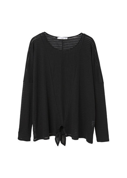 Knot Cotton T Shirt - pattern: plain; style: t-shirt; predominant colour: black; occasions: casual, creative work; length: standard; neckline: scoop; fibres: cotton - 100%; fit: loose; sleeve length: long sleeve; sleeve style: standard; pattern type: fabric; texture group: jersey - stretchy/drapey; season: s/s 2016; wardrobe: basic
