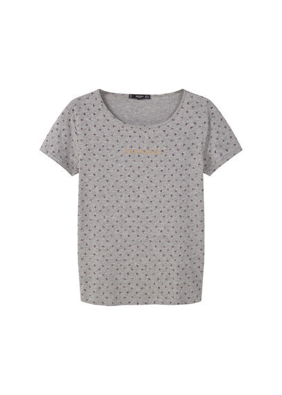 Logo Cotton T Shirt - neckline: round neck; style: t-shirt; pattern: polka dot; predominant colour: mid grey; occasions: casual; length: standard; fibres: cotton - 100%; fit: straight cut; sleeve length: short sleeve; sleeve style: standard; pattern type: fabric; pattern size: light/subtle; texture group: jersey - stretchy/drapey; season: s/s 2016; wardrobe: highlight
