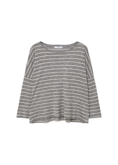 Fine Knit T Shirt - neckline: round neck; sleeve style: dolman/batwing; pattern: horizontal stripes; style: t-shirt; secondary colour: ivory/cream; predominant colour: mid grey; occasions: casual; length: standard; fibres: polyester/polyamide - mix; fit: loose; sleeve length: 3/4 length; pattern type: fabric; texture group: jersey - stretchy/drapey; pattern size: big & busy (top); season: s/s 2016; wardrobe: basic