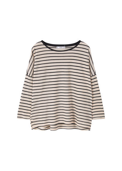 Fine Knit T Shirt - neckline: round neck; sleeve style: dolman/batwing; pattern: horizontal stripes; style: t-shirt; secondary colour: stone; predominant colour: black; occasions: casual; length: standard; fibres: polyester/polyamide - mix; fit: loose; sleeve length: 3/4 length; pattern type: fabric; texture group: jersey - stretchy/drapey; pattern size: big & busy (top); season: s/s 2016; wardrobe: basic