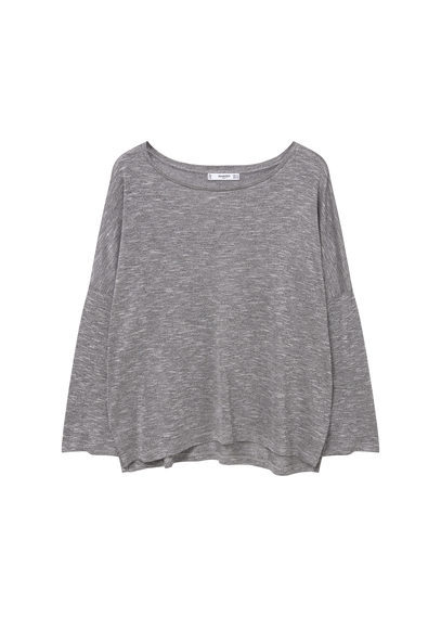 Fine Knit T Shirt - neckline: round neck; pattern: plain; style: t-shirt; predominant colour: light grey; occasions: casual; length: standard; fibres: polyester/polyamide - mix; fit: loose; sleeve length: long sleeve; sleeve style: standard; pattern type: fabric; texture group: jersey - stretchy/drapey; season: s/s 2016