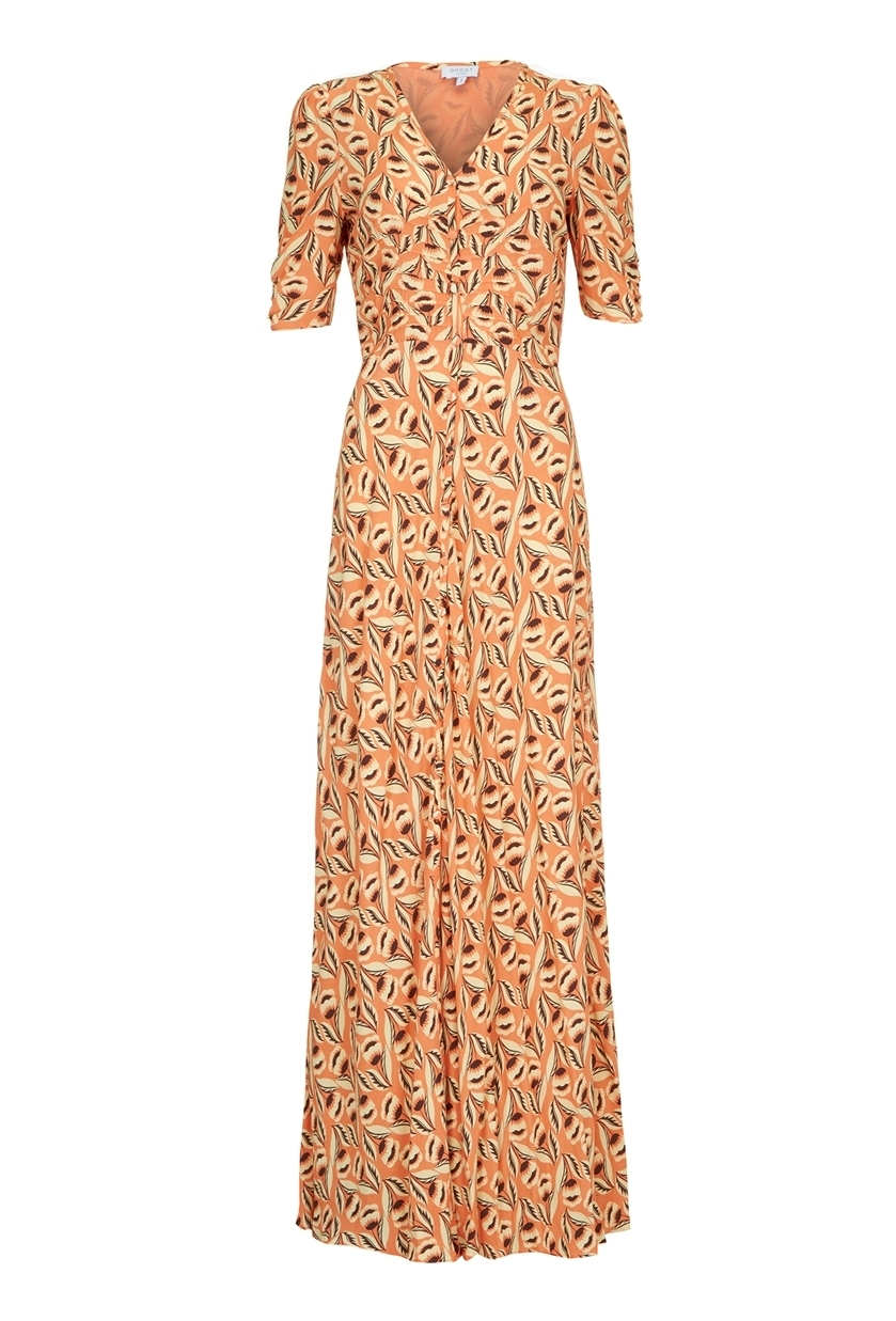 Tara Dress Jean Retro Bloom - neckline: v-neck; style: maxi dress; predominant colour: nude; occasions: evening; length: floor length; fit: body skimming; fibres: polyester/polyamide - 100%; sleeve length: short sleeve; sleeve style: standard; pattern type: fabric; pattern: patterned/print; texture group: other - light to midweight; season: s/s 2016; wardrobe: event