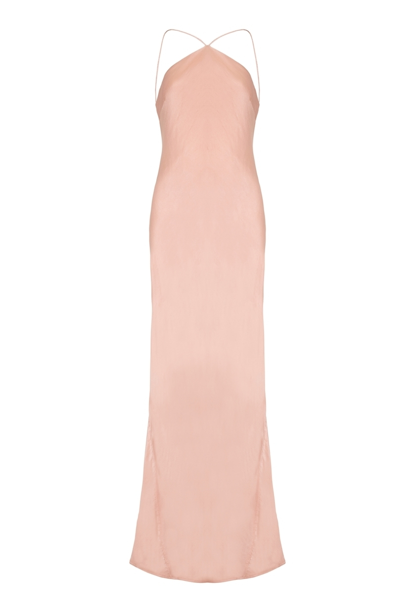 Emilia Dress Pink Sand - sleeve style: spaghetti straps; pattern: plain; style: maxi dress; predominant colour: blush; occasions: evening; length: floor length; fit: body skimming; fibres: polyester/polyamide - 100%; sleeve length: sleeveless; pattern type: fabric; texture group: other - light to midweight; season: s/s 2016; neckline: high halter neck; wardrobe: event