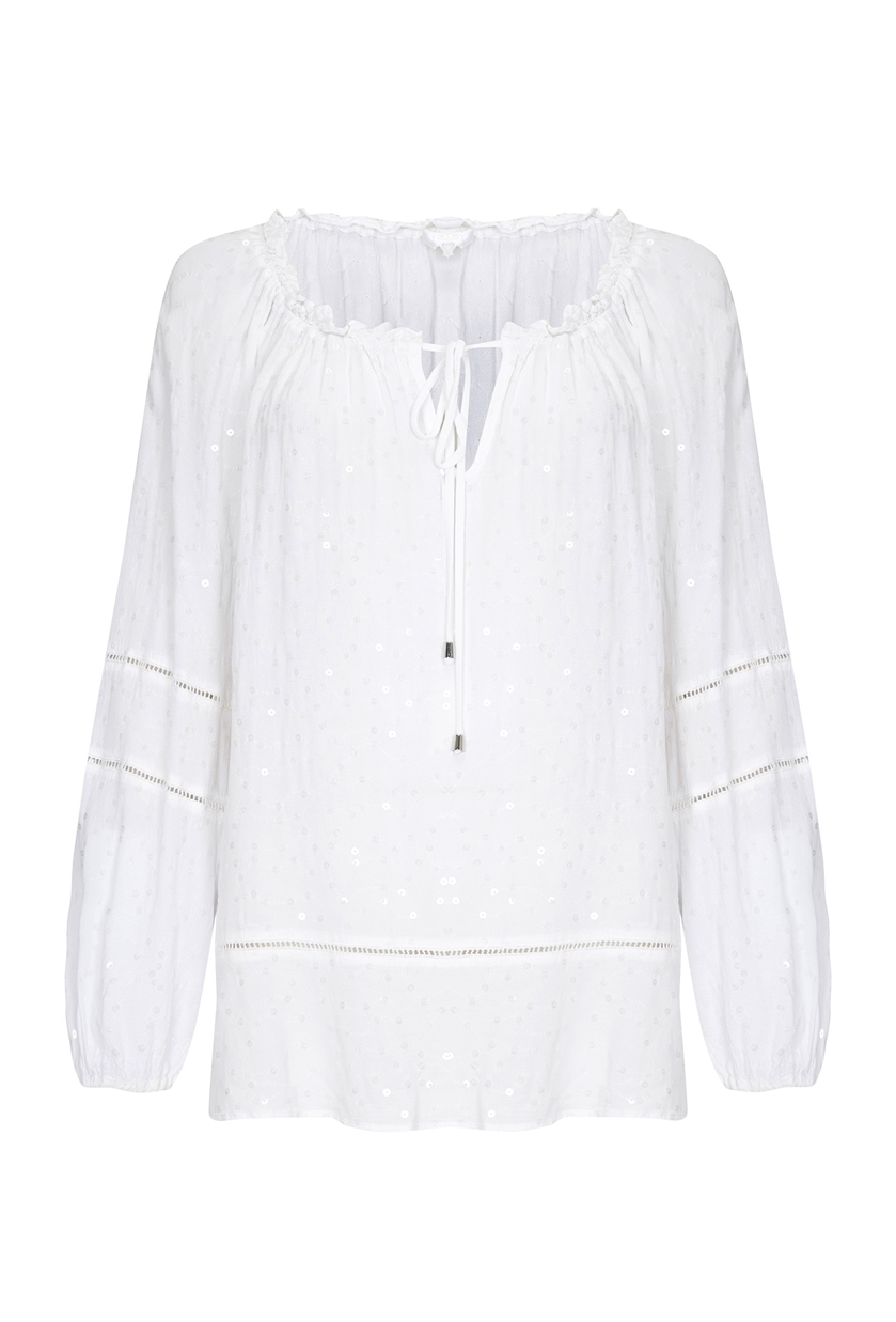 Belle Top White - pattern: plain; neckline: pussy bow; style: blouse; predominant colour: white; occasions: casual; length: standard; fibres: cotton - 100%; fit: loose; sleeve length: long sleeve; sleeve style: standard; texture group: cotton feel fabrics; pattern type: fabric; embellishment: embroidered; season: s/s 2016; wardrobe: highlight