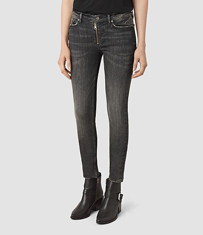 Track Ankle Jeans - style: skinny leg; length: standard; pattern: plain; waist: high rise; pocket detail: traditional 5 pocket; predominant colour: charcoal; occasions: casual; fibres: cotton - stretch; jeans detail: whiskering, shading down centre of thigh; texture group: denim; pattern type: fabric; season: s/s 2016; wardrobe: highlight