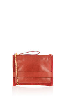 Leather Cross Body Clutch - predominant colour: bright orange; occasions: evening, occasion; type of pattern: standard; style: clutch; length: hand carry; size: standard; material: faux leather; pattern: plain; finish: plain; season: s/s 2016; wardrobe: event