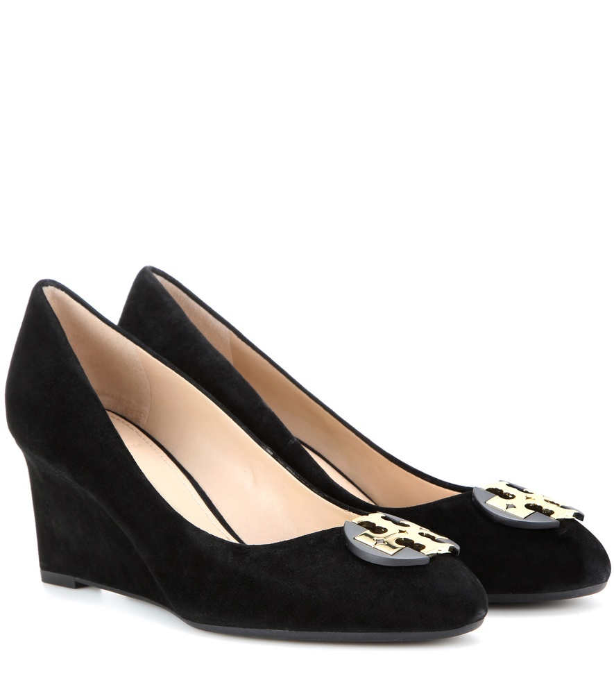 Luna Suede Wedge Ballerinas - predominant colour: black; occasions: work, creative work; material: suede; heel height: high; embellishment: buckles; heel: wedge; toe: square toe; style: courts; finish: plain; pattern: plain; season: s/s 2016
