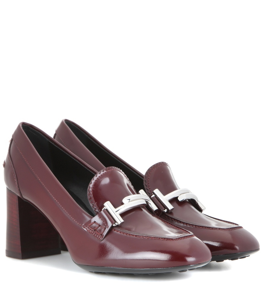 Loafer Style Leather Pumps - predominant colour: burgundy; occasions: work, creative work; material: leather; heel height: high; embellishment: snaffles; heel: block; toe: square toe; style: courts; finish: plain; pattern: plain; season: s/s 2016; wardrobe: highlight