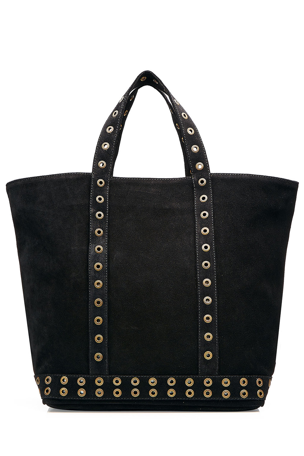 Suede Tote With Eyelet Trim Black - secondary colour: gold; predominant colour: black; occasions: casual, creative work; type of pattern: standard; style: tote; length: handle; size: oversized; material: leather; pattern: plain; finish: plain; embellishment: chain/metal; season: s/s 2016