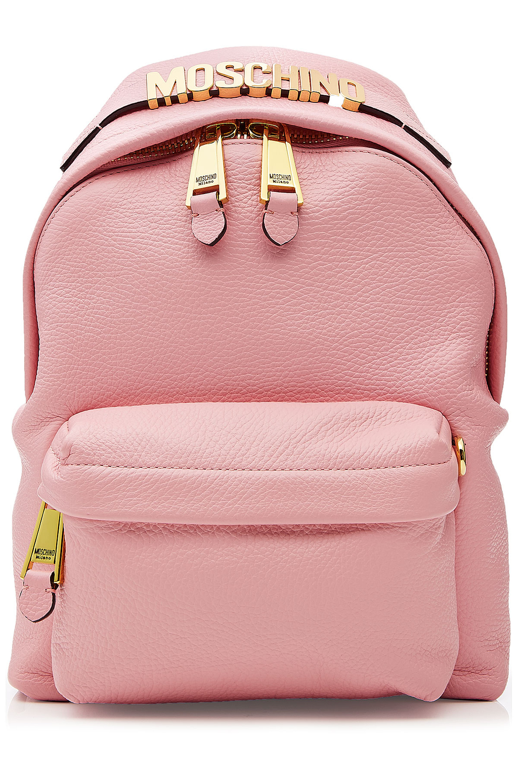Leather Backpack With Gilded Logo Embellishment - predominant colour: pink; occasions: casual, creative work; type of pattern: standard; style: rucksack; length: rucksack; size: standard; material: leather; pattern: plain; finish: plain; season: s/s 2016; wardrobe: highlight