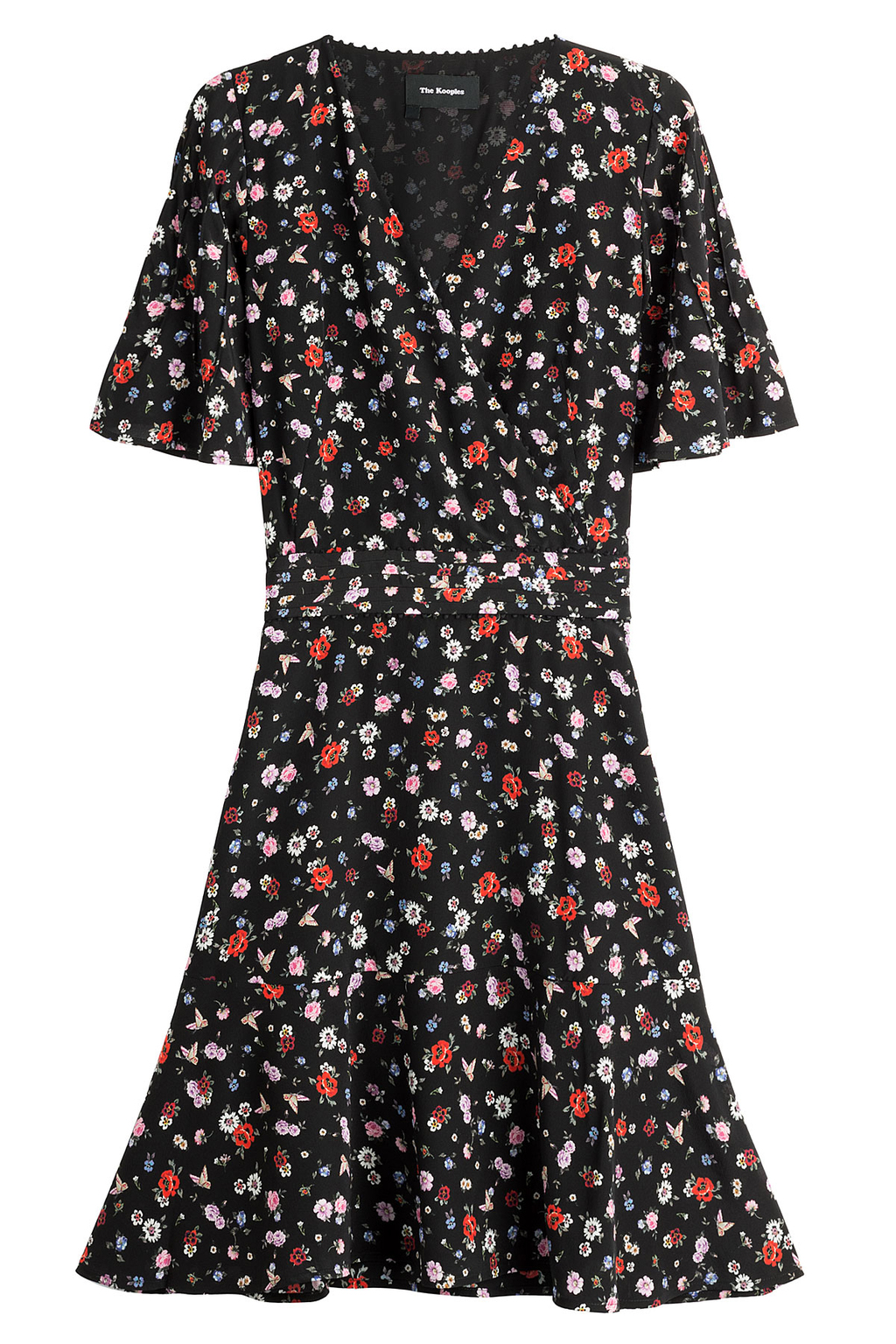 Printed Silk Dress - style: tea dress; neckline: v-neck; secondary colour: true red; predominant colour: navy; occasions: casual, creative work; length: just above the knee; fit: soft a-line; fibres: silk - 100%; sleeve length: short sleeve; sleeve style: standard; texture group: crepes; pattern type: fabric; pattern: patterned/print; season: s/s 2016; wardrobe: highlight
