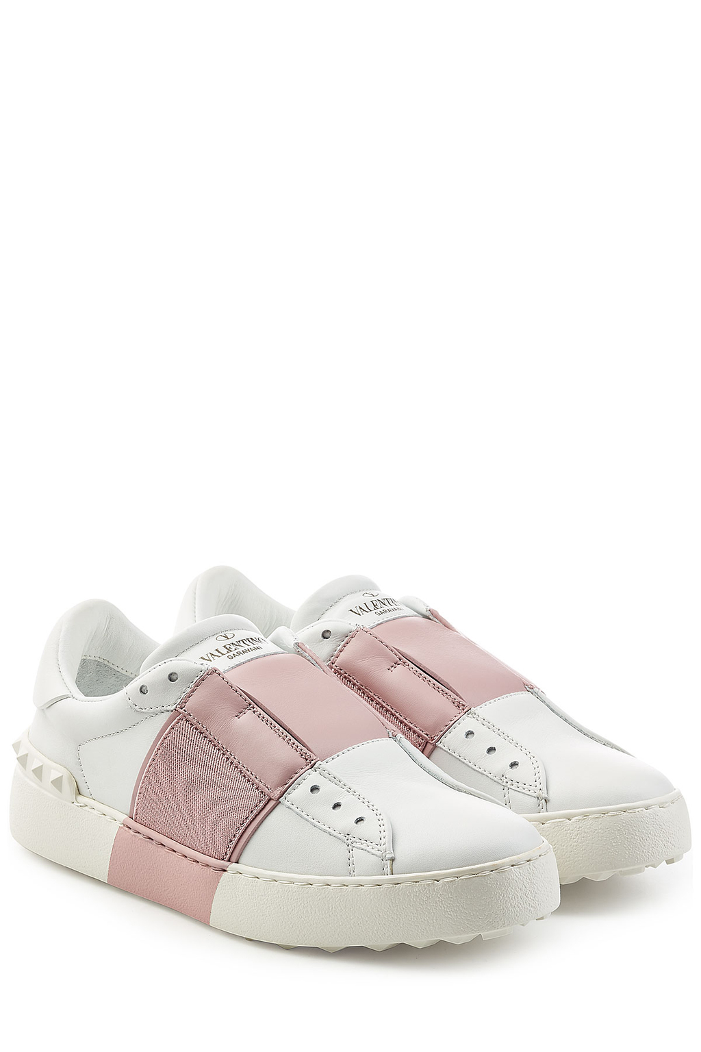 Open Leather Sneakers - predominant colour: white; secondary colour: blush; occasions: casual; material: leather; heel height: flat; toe: round toe; style: trainers; finish: plain; pattern: colourblock; shoe detail: moulded soul; season: s/s 2016; wardrobe: highlight