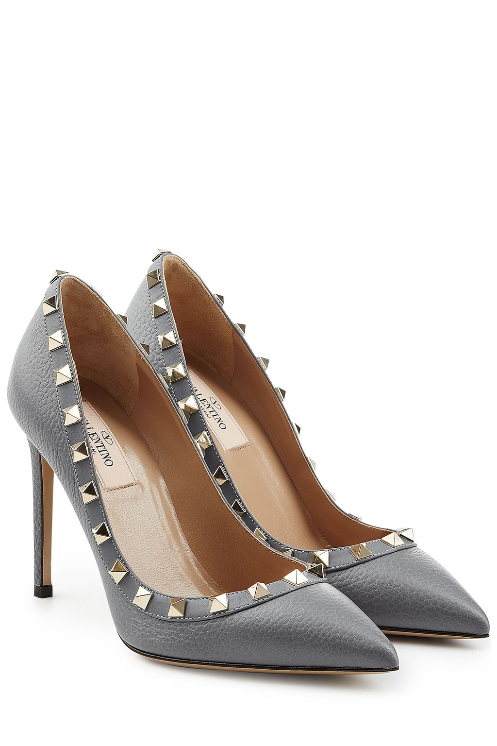 Rockstud Leather Pumps - predominant colour: light grey; occasions: evening, occasion; material: leather; heel height: high; embellishment: studs; heel: stiletto; toe: pointed toe; style: courts; finish: plain; pattern: plain; season: s/s 2016; wardrobe: event