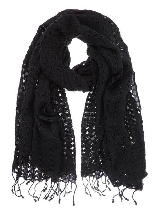 Black Lace Scarf - predominant colour: black; occasions: casual; type of pattern: standard; style: regular; size: standard; material: fabric; embellishment: fringing; pattern: plain; season: s/s 2016; wardrobe: basic