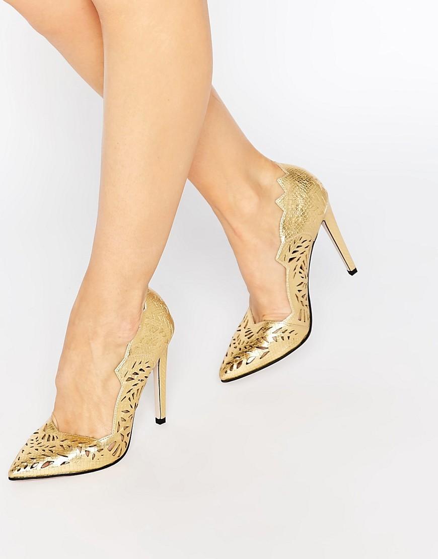 Lucy Cut Out Point Court Shoes Gold - predominant colour: gold; occasions: evening, occasion; material: faux leather; heel height: high; heel: stiletto; toe: open toe/peeptoe; style: courts; finish: metallic; pattern: plain; season: s/s 2016; wardrobe: event
