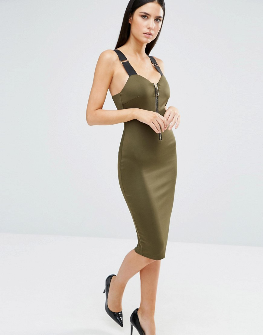 Zip Front Bodycon Midi Dress With Strap Detail Khaki - neckline: low v-neck; fit: tight; pattern: plain; sleeve style: sleeveless; style: bodycon; predominant colour: khaki; occasions: evening; length: on the knee; fibres: polyester/polyamide - stretch; sleeve length: sleeveless; texture group: jersey - clingy; pattern type: fabric; season: s/s 2016; wardrobe: event