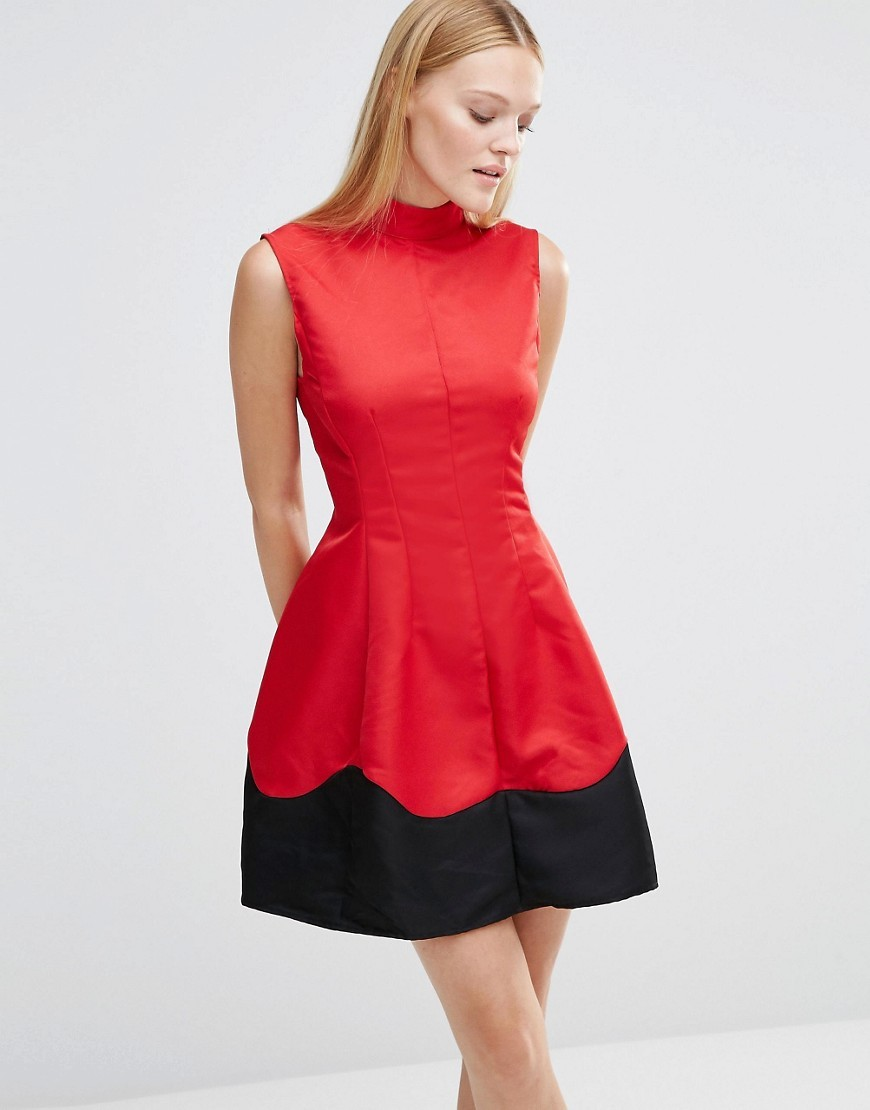 Wave Skater Dress Red - length: mid thigh; pattern: plain; sleeve style: sleeveless; neckline: high neck; predominant colour: true red; secondary colour: black; occasions: evening; fit: fitted at waist & bust; style: fit & flare; fibres: polyester/polyamide - 100%; sleeve length: sleeveless; texture group: structured shiny - satin/tafetta/silk etc.; pattern type: fabric; multicoloured: multicoloured; season: s/s 2016; wardrobe: event
