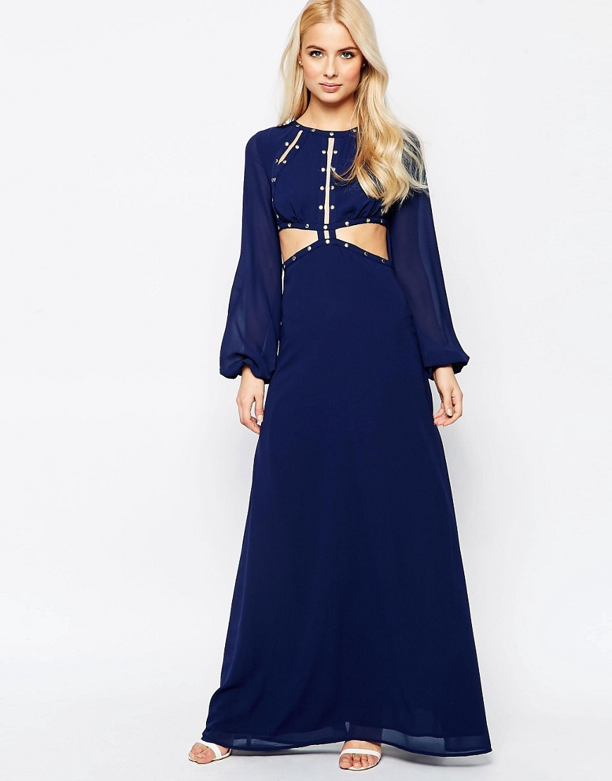 Maxi Dress With Cut Out Detail Navy - pattern: plain; style: maxi dress; predominant colour: royal blue; occasions: evening; length: floor length; fit: body skimming; fibres: polyester/polyamide - 100%; neckline: crew; waist detail: cut out detail; sleeve length: long sleeve; sleeve style: standard; texture group: sheer fabrics/chiffon/organza etc.; pattern type: fabric; season: s/s 2016; wardrobe: event