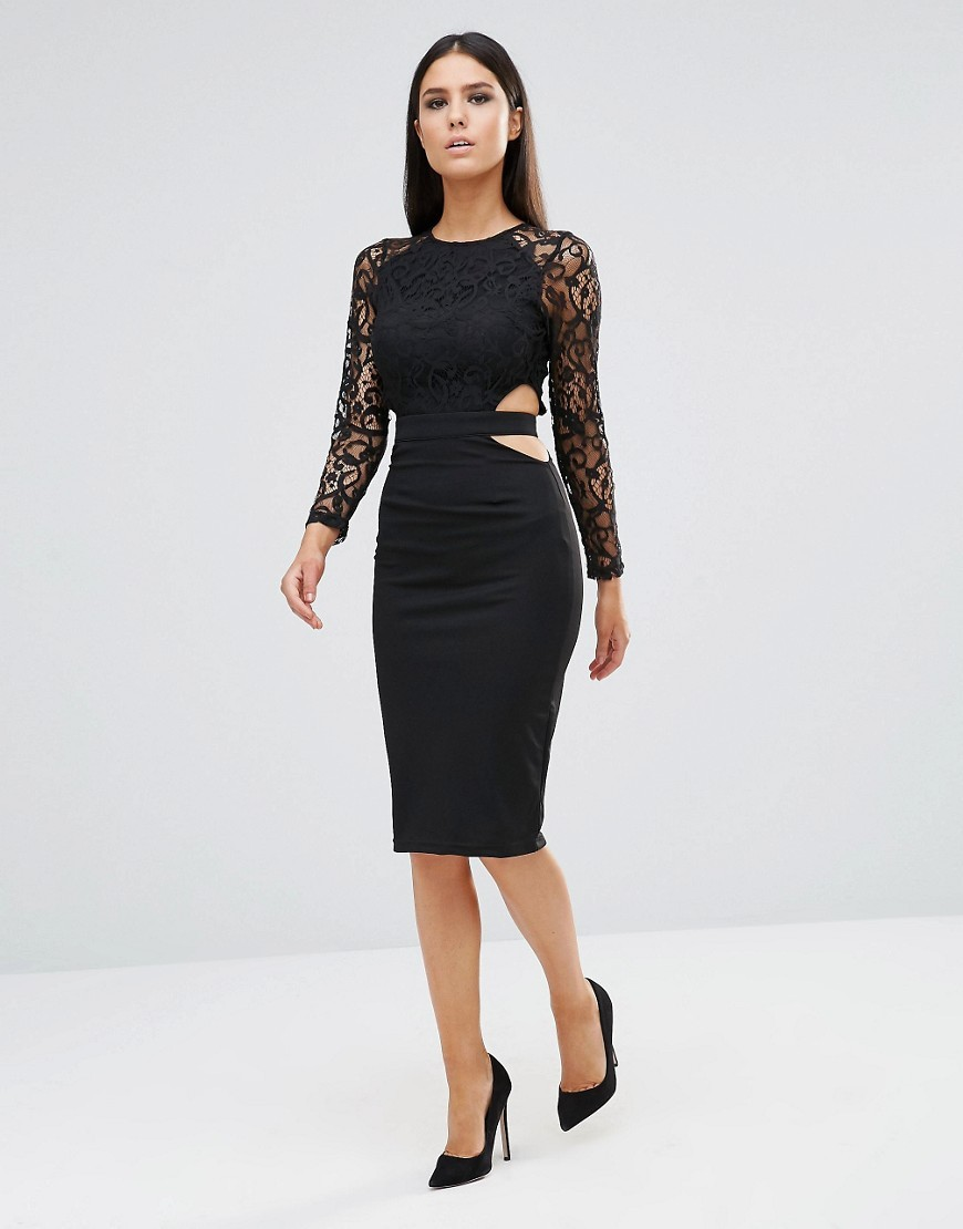Long Sleeve Midi Dress With Cut Out Detail Black - length: below the knee; fit: tight; pattern: plain; style: bodycon; predominant colour: black; occasions: evening; fibres: polyester/polyamide - 100%; neckline: crew; waist detail: cut out detail; sleeve length: long sleeve; sleeve style: standard; texture group: jersey - clingy; pattern type: fabric; embellishment: lace; shoulder detail: sheer at shoulder; season: s/s 2016
