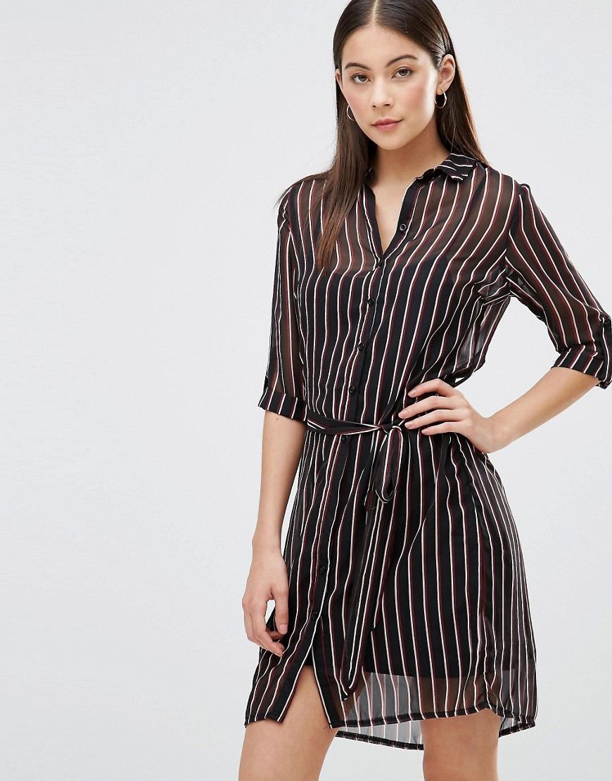 Shirt Dress In Pinstripe Multi - style: shirt; neckline: shirt collar/peter pan/zip with opening; pattern: vertical stripes; secondary colour: ivory/cream; predominant colour: black; occasions: evening; length: just above the knee; fit: body skimming; fibres: polyester/polyamide - 100%; sleeve length: 3/4 length; sleeve style: standard; texture group: sheer fabrics/chiffon/organza etc.; pattern type: fabric; multicoloured: multicoloured; season: s/s 2016; wardrobe: event