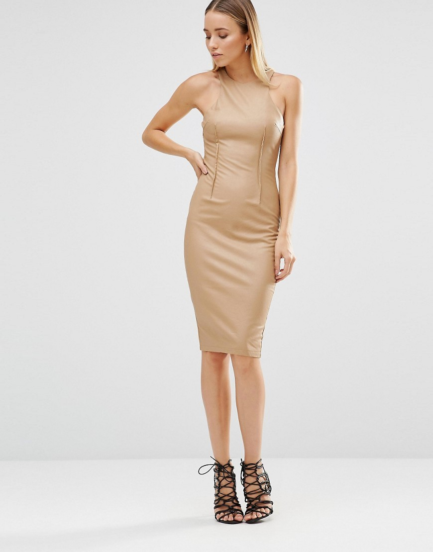 Midi Cami Dress Camel - fit: tight; pattern: plain; sleeve style: sleeveless; style: bodycon; predominant colour: camel; occasions: evening; length: on the knee; fibres: polyester/polyamide - stretch; neckline: crew; sleeve length: sleeveless; texture group: jersey - clingy; pattern type: fabric; season: s/s 2016; wardrobe: event