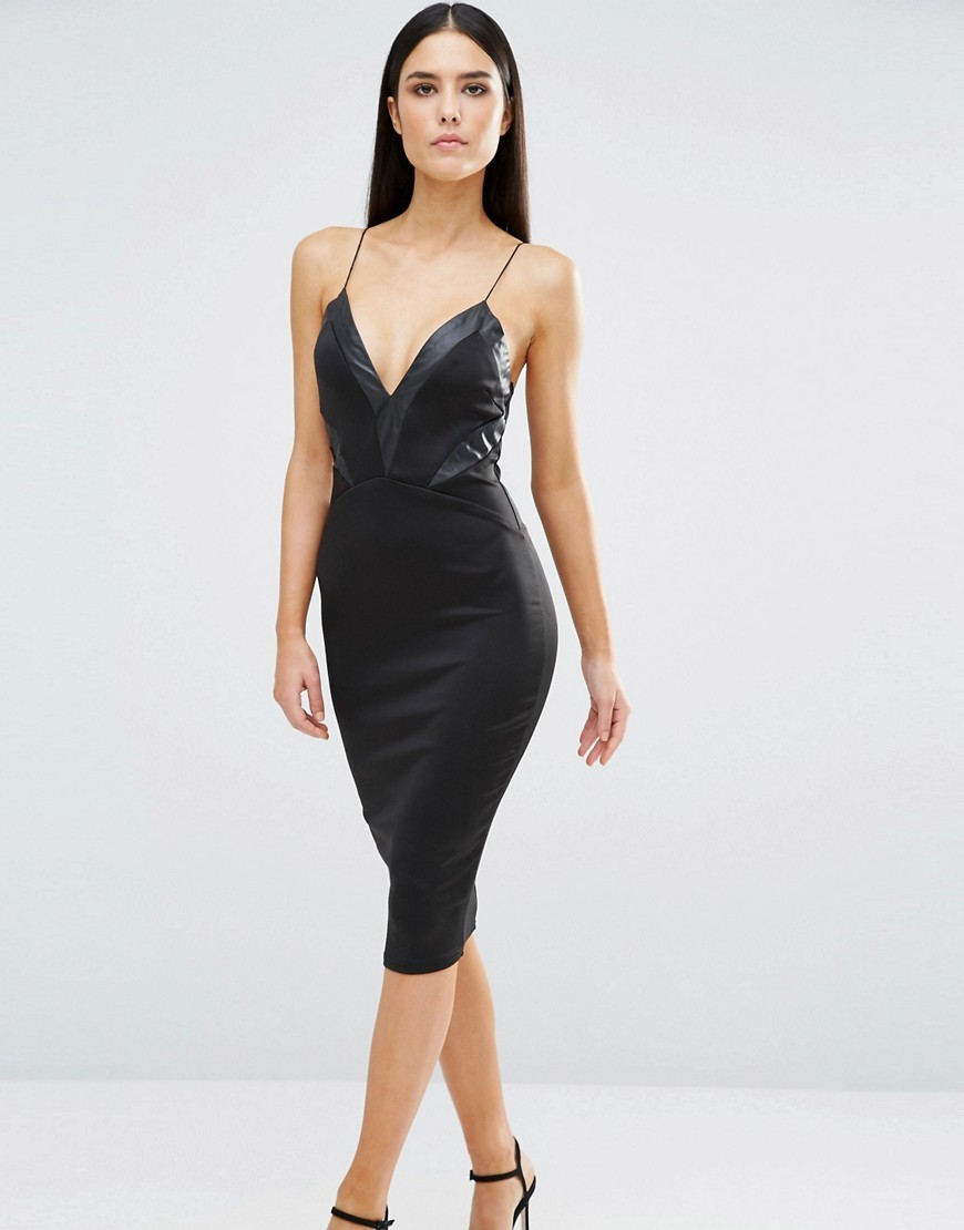 V Neck Midi Cami Dress With Pu Panels Black - length: below the knee; neckline: low v-neck; sleeve style: spaghetti straps; fit: tight; pattern: plain; style: bodycon; predominant colour: black; occasions: evening; fibres: polyester/polyamide - stretch; sleeve length: sleeveless; texture group: jersey - clingy; pattern type: fabric; season: s/s 2016; wardrobe: event