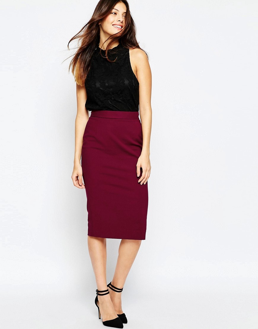Glass Stretch Pencil Skirt Biker Berry - length: below the knee; pattern: plain; style: pencil; fit: body skimming; waist: mid/regular rise; predominant colour: burgundy; occasions: evening; fibres: cotton - mix; texture group: jersey - clingy; pattern type: fabric; season: s/s 2016; wardrobe: event