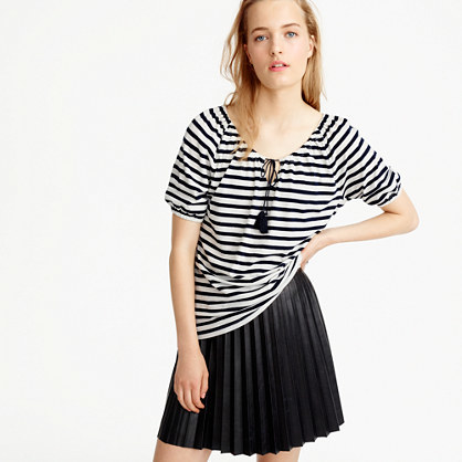 Striped Peasant Top - pattern: horizontal stripes; neckline: pussy bow; predominant colour: ivory/cream; secondary colour: navy; occasions: casual; length: standard; style: top; fibres: cotton - mix; fit: body skimming; sleeve length: short sleeve; sleeve style: standard; pattern type: fabric; texture group: jersey - stretchy/drapey; multicoloured: multicoloured; season: s/s 2016; wardrobe: highlight