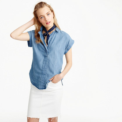 Short Sleeve Popover Shirt In Chambray - neckline: shirt collar/peter pan/zip with opening; pattern: plain; style: shirt; predominant colour: pale blue; occasions: casual; length: standard; fibres: cotton - 100%; fit: body skimming; sleeve length: short sleeve; sleeve style: standard; texture group: denim; pattern type: fabric; season: s/s 2016; wardrobe: basic
