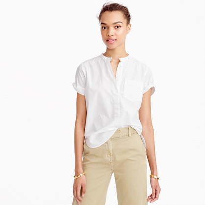 Relaxed Popover Shirt In End On End Cotton - pattern: plain; predominant colour: white; occasions: casual, work, creative work; length: standard; style: top; neckline: collarstand & mandarin with v-neck; fibres: cotton - 100%; fit: body skimming; sleeve length: short sleeve; sleeve style: standard; texture group: cotton feel fabrics; pattern type: fabric; season: s/s 2016; wardrobe: basic