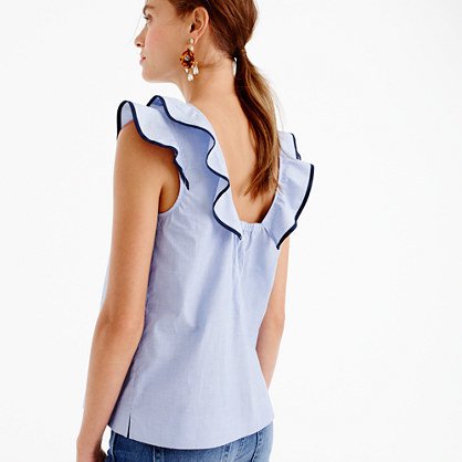Petite Ruffle Top In End On End Cotton - pattern: plain; sleeve style: sleeveless; style: vest top; shoulder detail: tiers/frills/ruffles; predominant colour: pale blue; occasions: casual; length: standard; fibres: cotton - 100%; fit: body skimming; neckline: crew; sleeve length: sleeveless; texture group: cotton feel fabrics; pattern type: fabric; season: s/s 2016; wardrobe: highlight