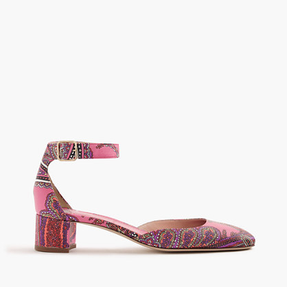Paisley Printed Leather Heels - predominant colour: pink; material: leather; heel height: mid; ankle detail: ankle strap; heel: block; toe: round toe; style: courts; finish: plain; pattern: patterned/print; occasions: creative work; season: s/s 2016