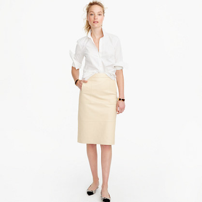 Collection Leather Skirt - length: below the knee; pattern: plain; style: pencil; fit: tailored/fitted; waist: mid/regular rise; predominant colour: stone; occasions: evening; fibres: leather - 100%; pattern type: fabric; texture group: woven light midweight; season: s/s 2016; wardrobe: event