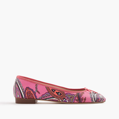 Kiki Leather Ballet Flats In Paisley - predominant colour: hot pink; secondary colour: navy; occasions: casual, creative work; material: leather; heel height: flat; toe: pointed toe; style: ballerinas / pumps; finish: plain; pattern: patterned/print; multicoloured: multicoloured; season: s/s 2016; wardrobe: highlight